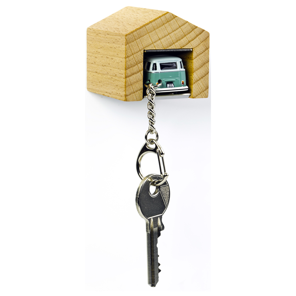VW Bus Samba T1 keyring with beech wood garage | The Design Gift Shop