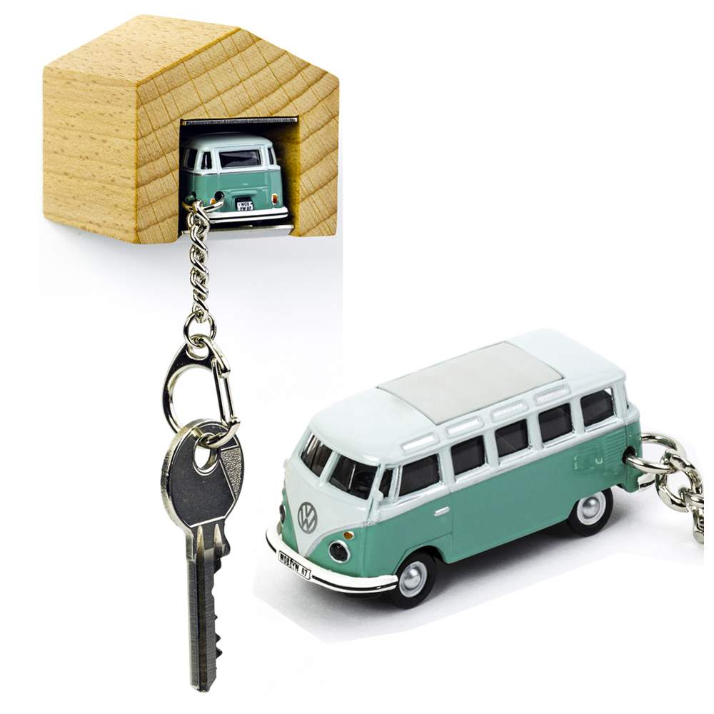 VW Bus Samba T1 turqoise keyring with beech wood garage | The Design Gift Shop