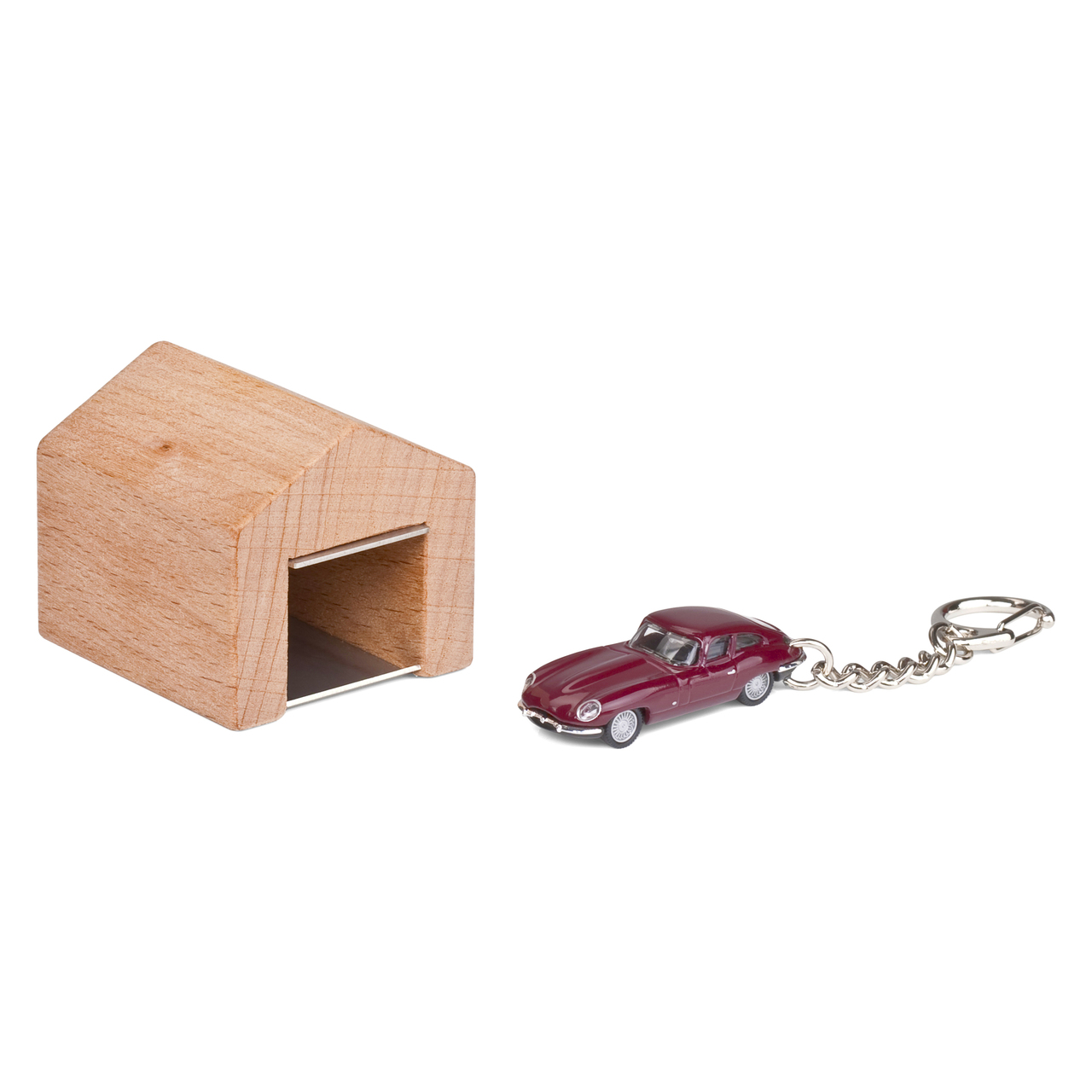 Jaguar E Type keyring with beech wood garage | The Design Gift Shop
