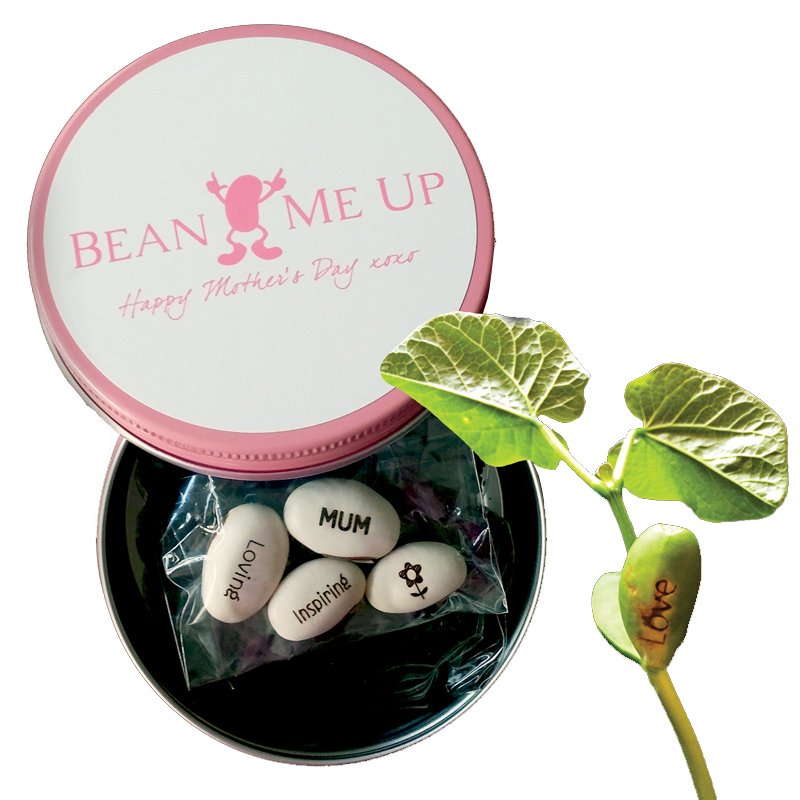 Magic Message Beans engravings in Mother's Day Tin (front and back) | The Design Gift Shop