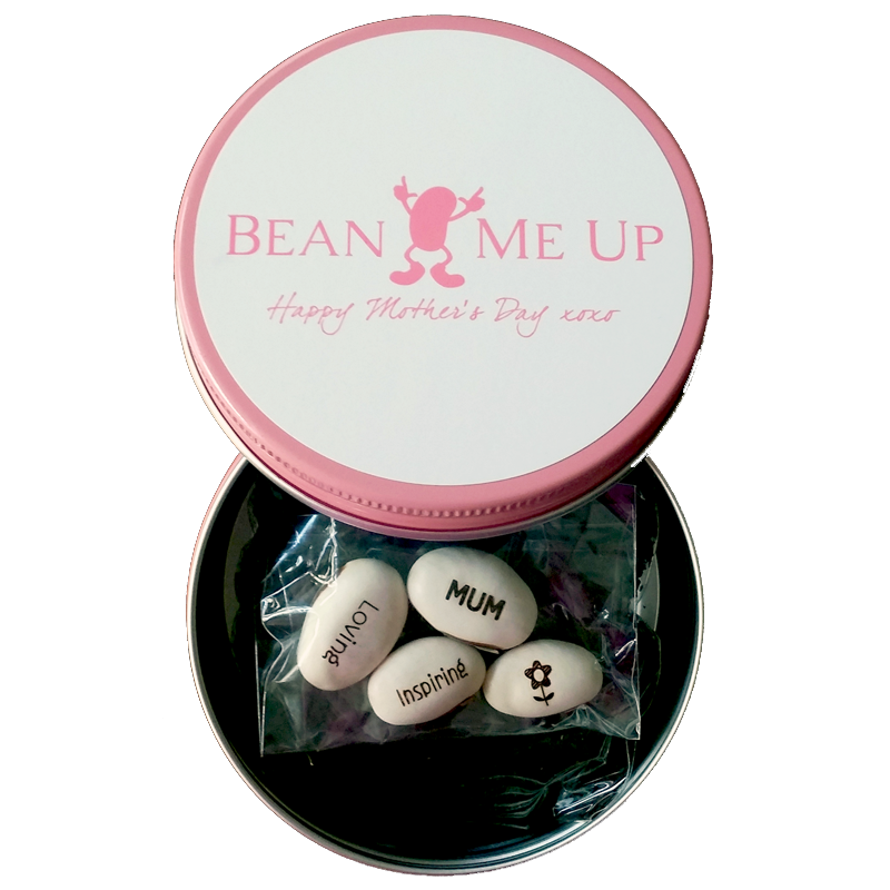 Magic Message Beans engravings in Mother's Day Tin | The Design Gift Shop