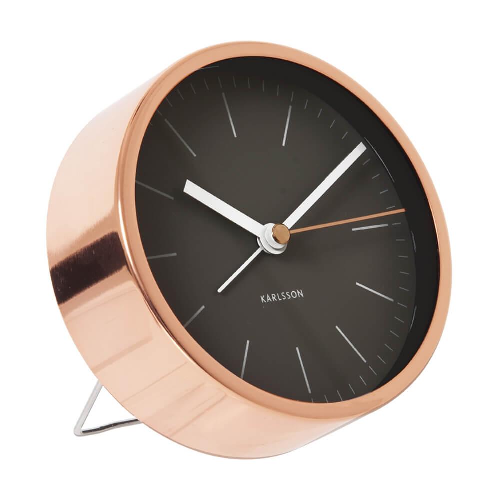 KARLSSON Minimal alarm clock copper case black dial | The Design Gift Shop