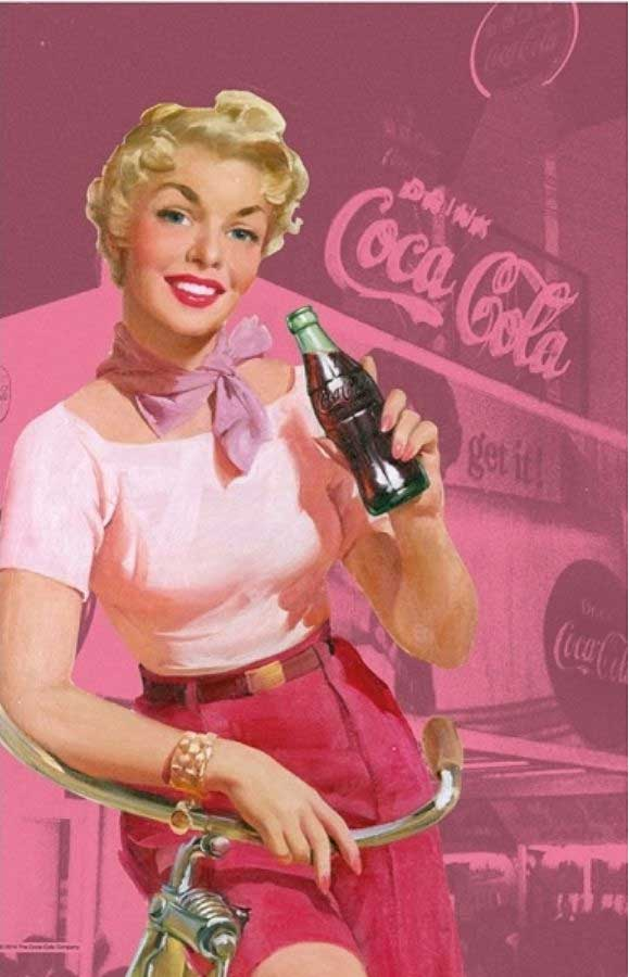 Coca-Cola tea towel 'Pin Up Girl' in pink | The Design Gift Shop