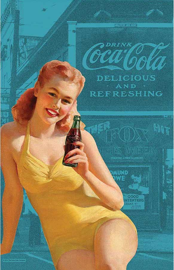 Coca-Cola tea towel 'Pin Up Girl' in bathing suit | The Design Gift Shop