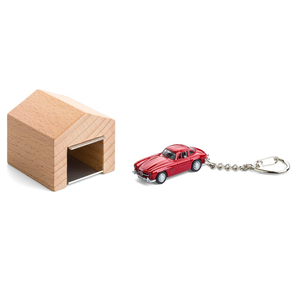 Mercedes-Benz 300 SL keyring with beech wood garage | The Design Gift Shop