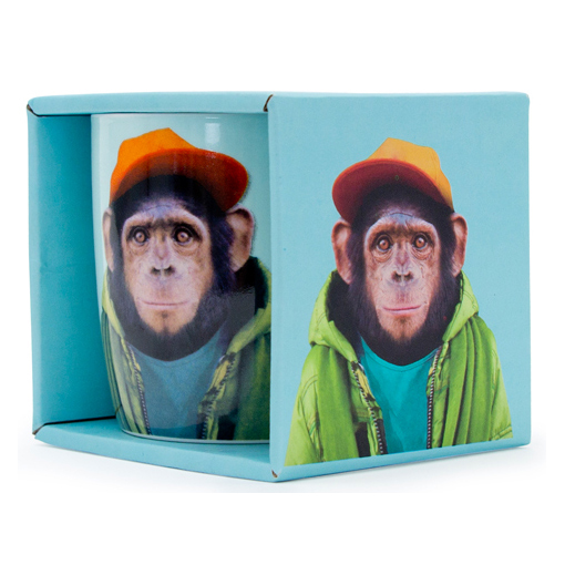 Porcelain Mug Chimp gift box | The Design Gift Shop