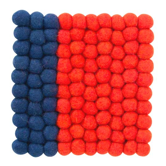 Square felt trivet in blue and red | The Design Gift Shop