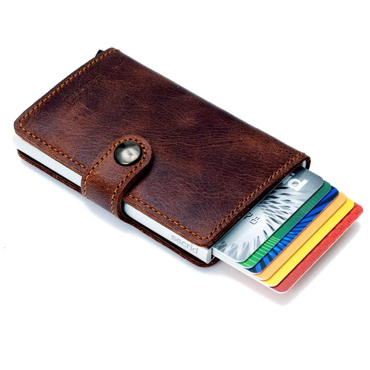 Secrid RFID secure credit card miniwallet vintage brown leather