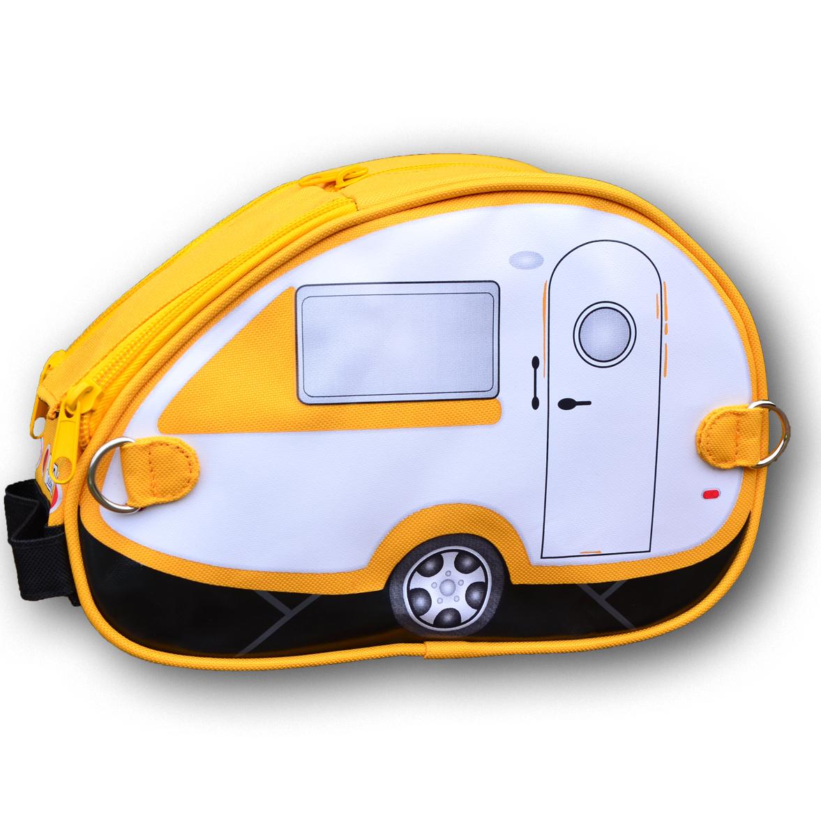 Yellow/white teardrop caravan toiletry bag | The Design Gift Shop