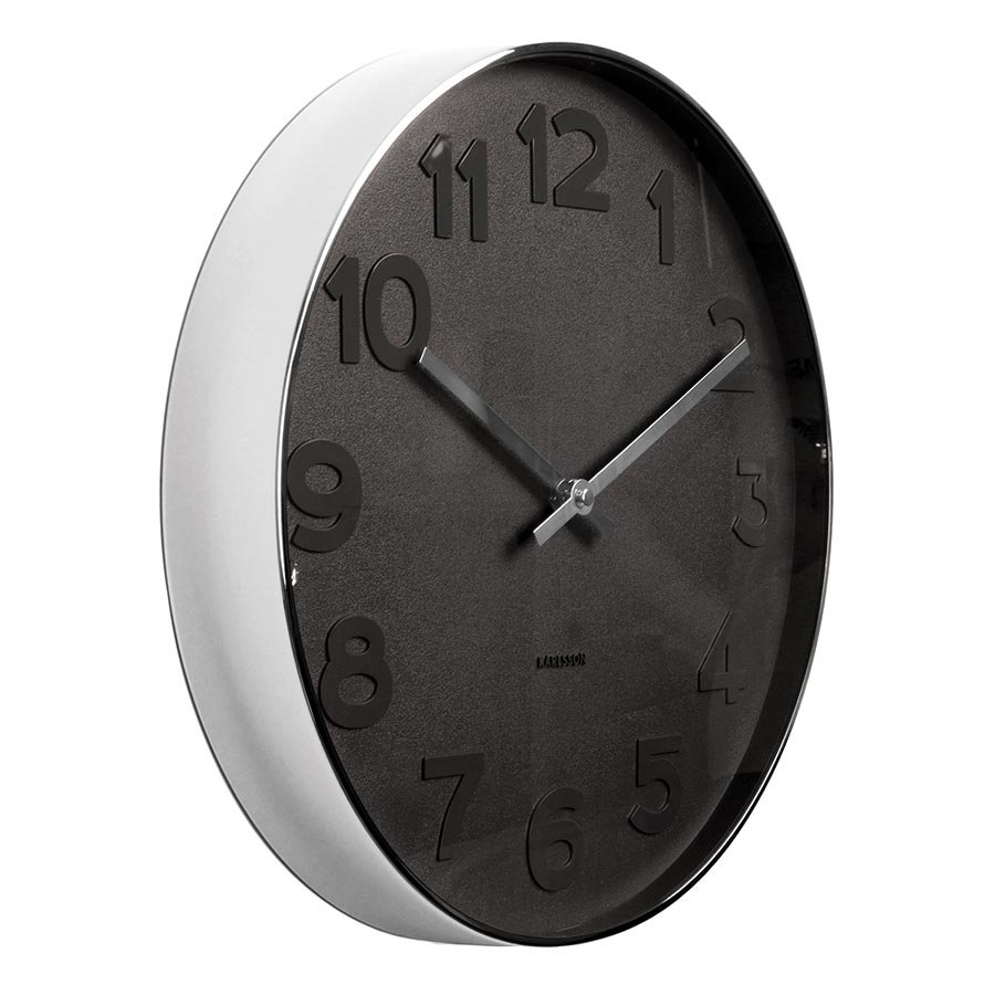 Karlsson Mr Black numbers steel rim wall clock - Ø 37.5 x 6 cm | The Design Gift Shop