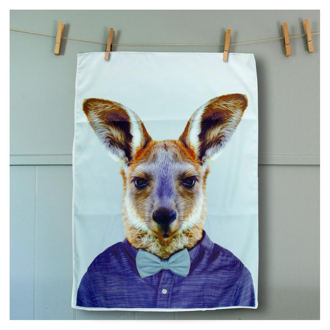 Tea Towel Kangaroo from the Zoo Portraits | The Design Gift Shop