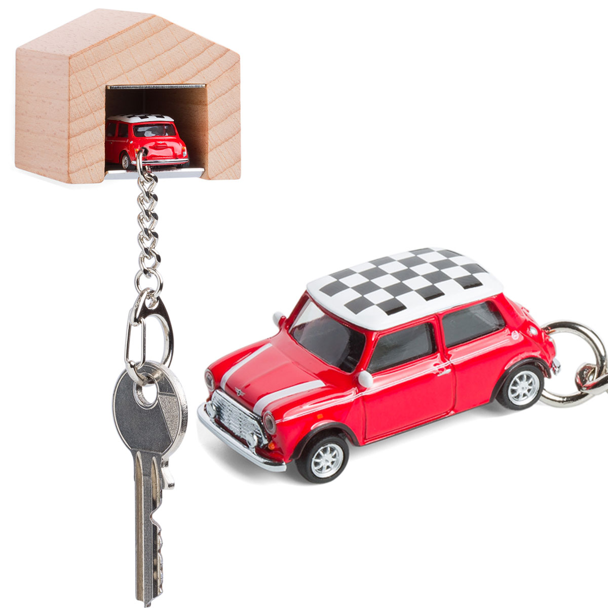 Mini Cooper keyring with beech wood garage | The Design Gift Shop