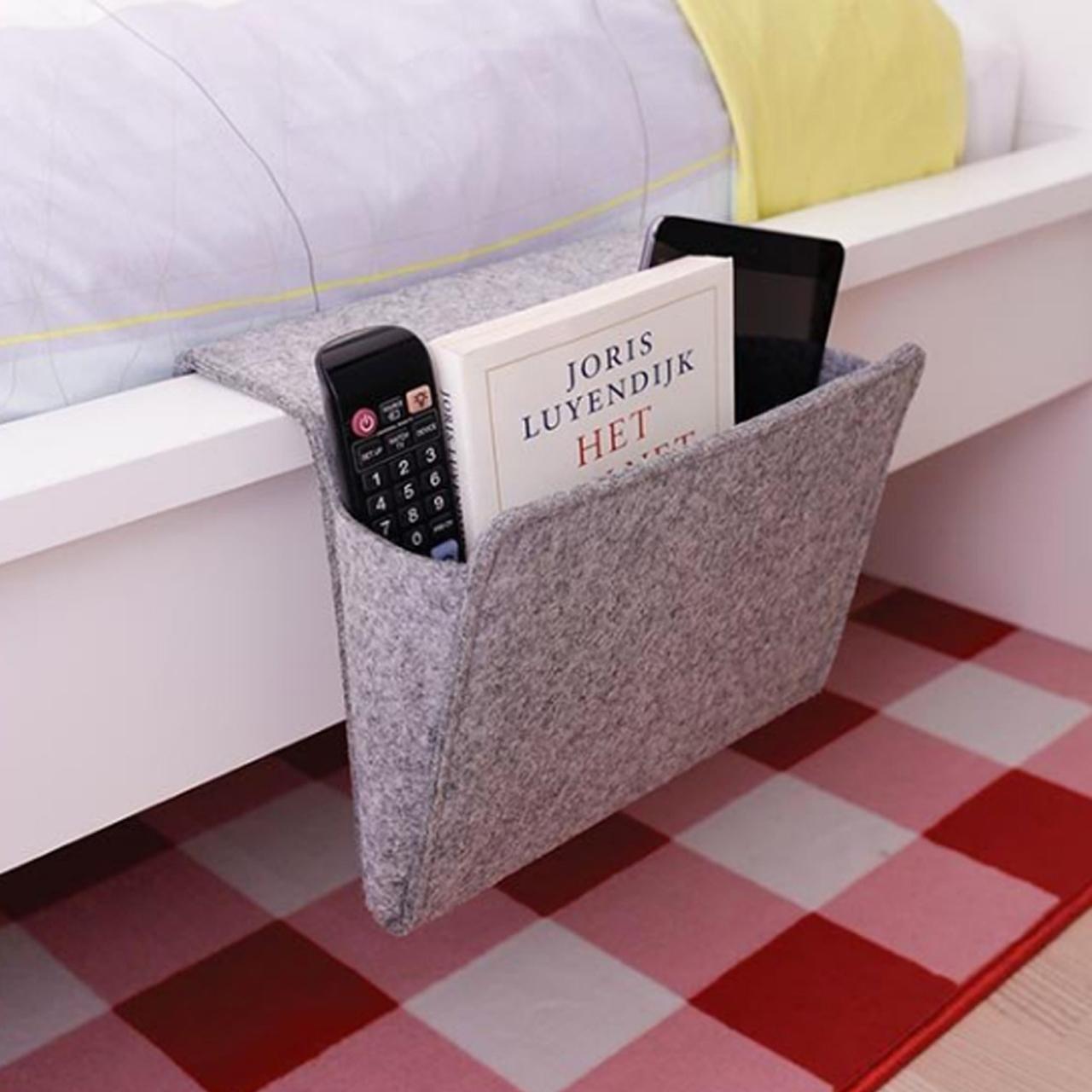 Kikkerland Bedside Felt Pocket Grey | The Design Gift Shop