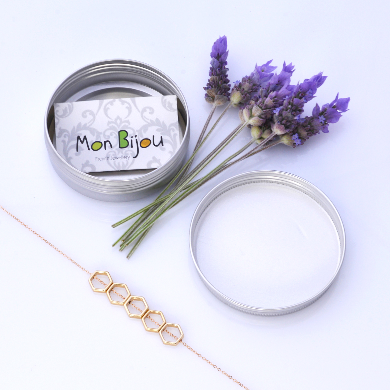 Mon Bijou Golden Hexagon 5 Necklace with silver gift tin | The Design Gift Shop