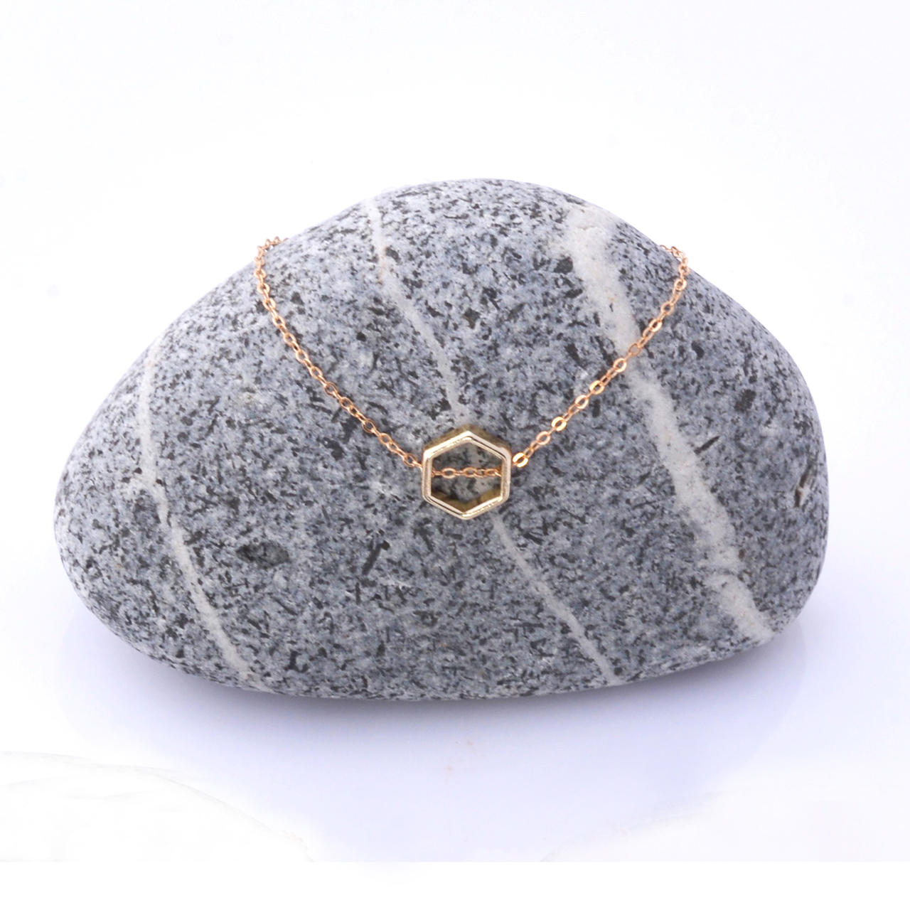 Mon Bijou necklace Golden Hexagon 1 | The Design Gift Shop
