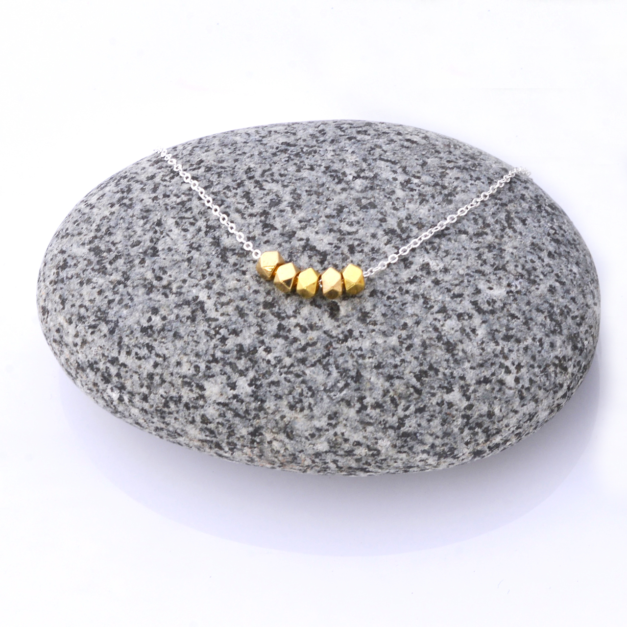 Mon Bijou Minimalist Necklace Golden Nugget Silver Chain | The Design Gift Shop