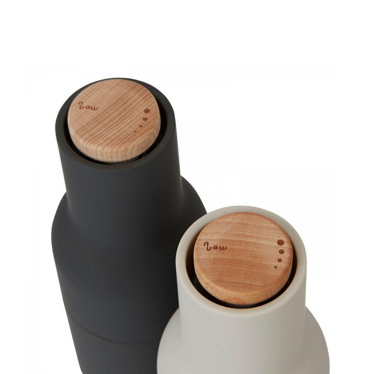 Menu Norm salt & pepper bottle grinder set in carbon / ash   The Design Gift Shop