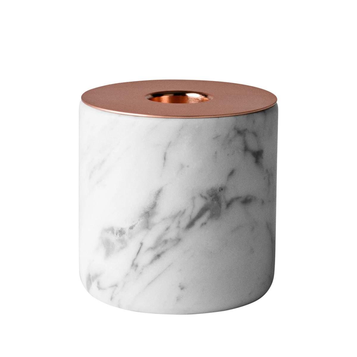 Menu Candle Holder Chunk White Marble and Copper | The Design Gift Shop