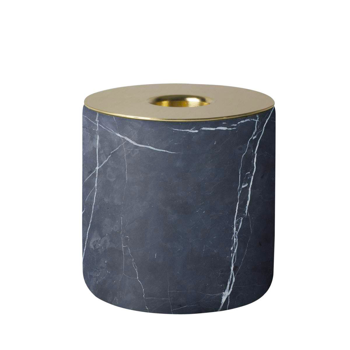 Menu Candle Holder Chunk Black Marble and Bronze | The Design Gift Shop