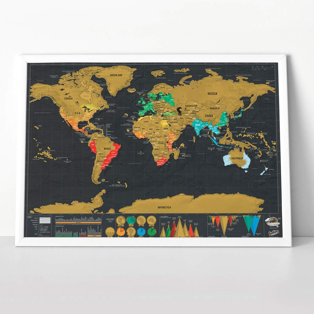 Luckies Deluxe Edition Scratch World Map (frame not included) | The Design Gift Shop