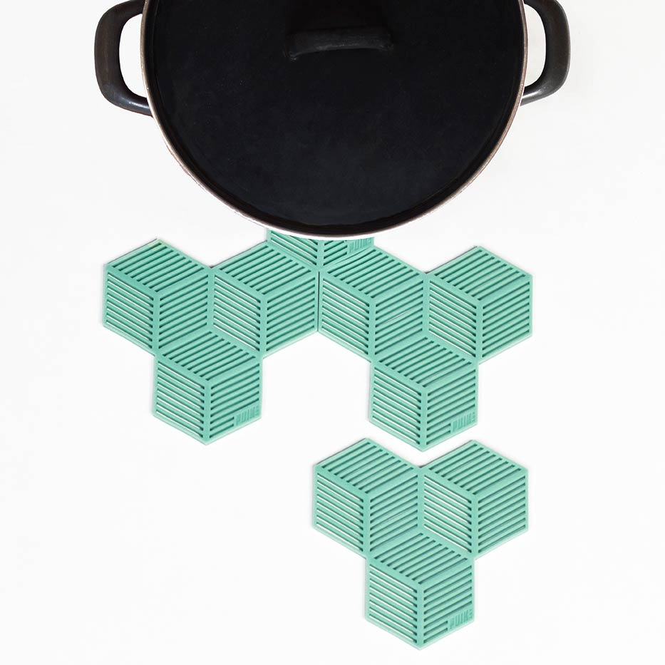Mint Green Silicon Coaster Set Sico by PUIKart | The Design Gift Shop