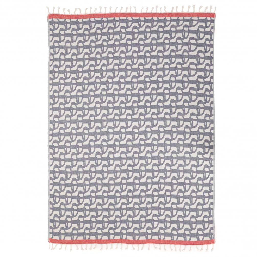 Fouta Towel 'Uhaina Chillida Bleu' by Jean-Vier | The Design Gift Shop