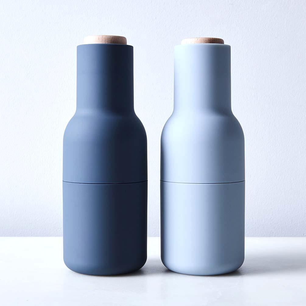 Menu Norm salt & pepper bottle grinder set in blue   The Design Gift Shop