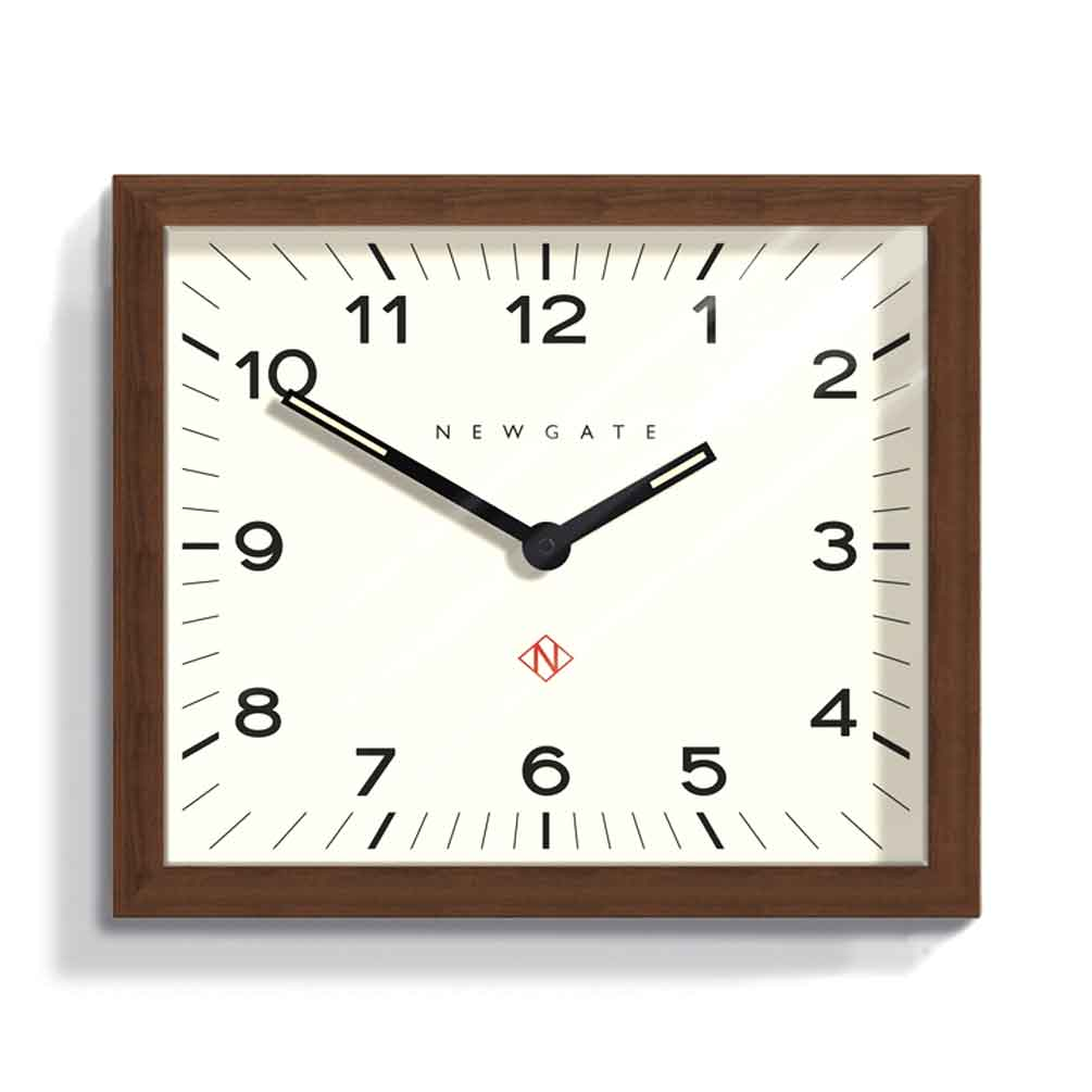 Newgate Mr Davies modernist rectangular wall clock with wood frame