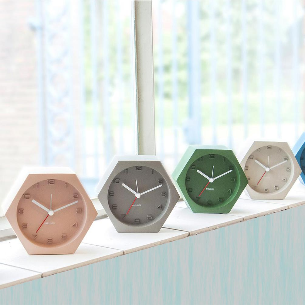 Karlsson Hexagon concrete alarm clocks | The Design Gift Shop