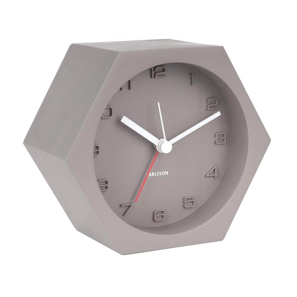 Karlsson Hexagon dark grey concrete alarm clock | The Design Gift Shop