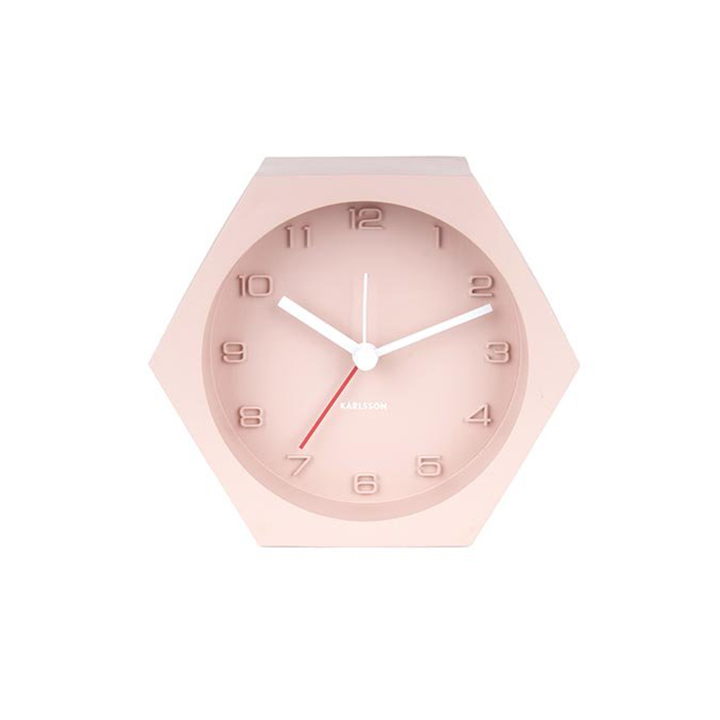 Karlsson Hexagon pink coloured concrete alarm clock | The Design Gift Shop