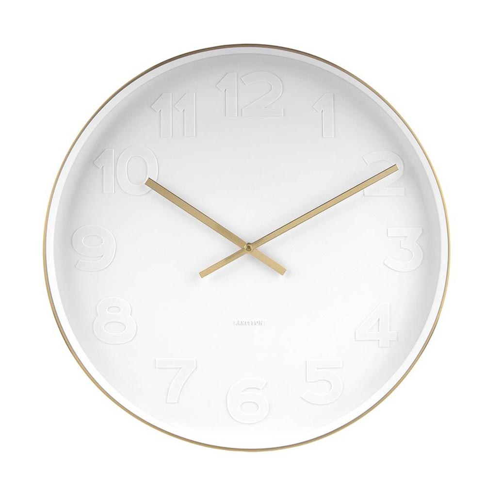 Karlsson Mr White Numbers Gold Small wall clock with white dial and brushed rim- Ø 27.5