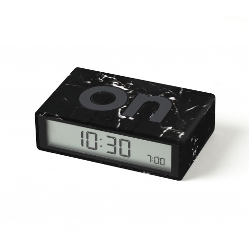 LEXON Flip LCD alarm clock LR130LMN Black Marble | The Design Gift Shop