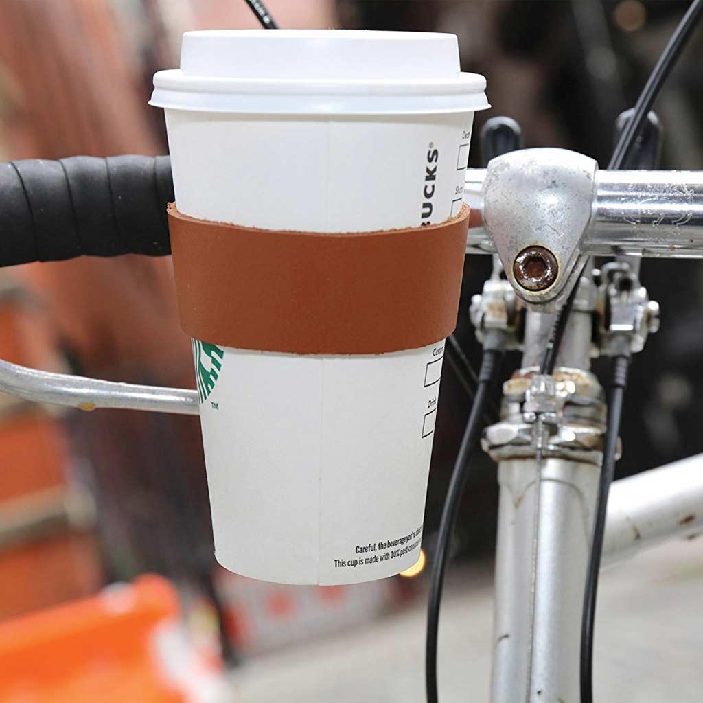 Kikkerland leather bike cup holder | The Design Gift Shop