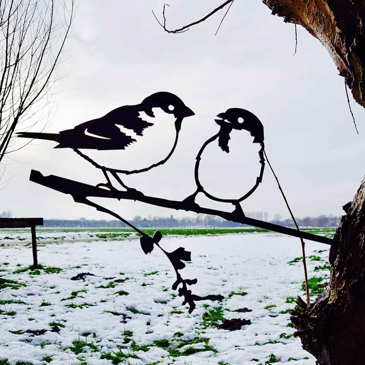 Sparrows - Lovebirds, Metalbird Corten Bird Silhouettes | The Design Gift Shop