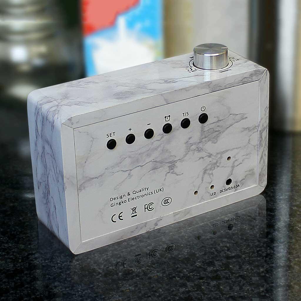 GINKGO click radio LED alarm clock marble | The Design Gift Shop