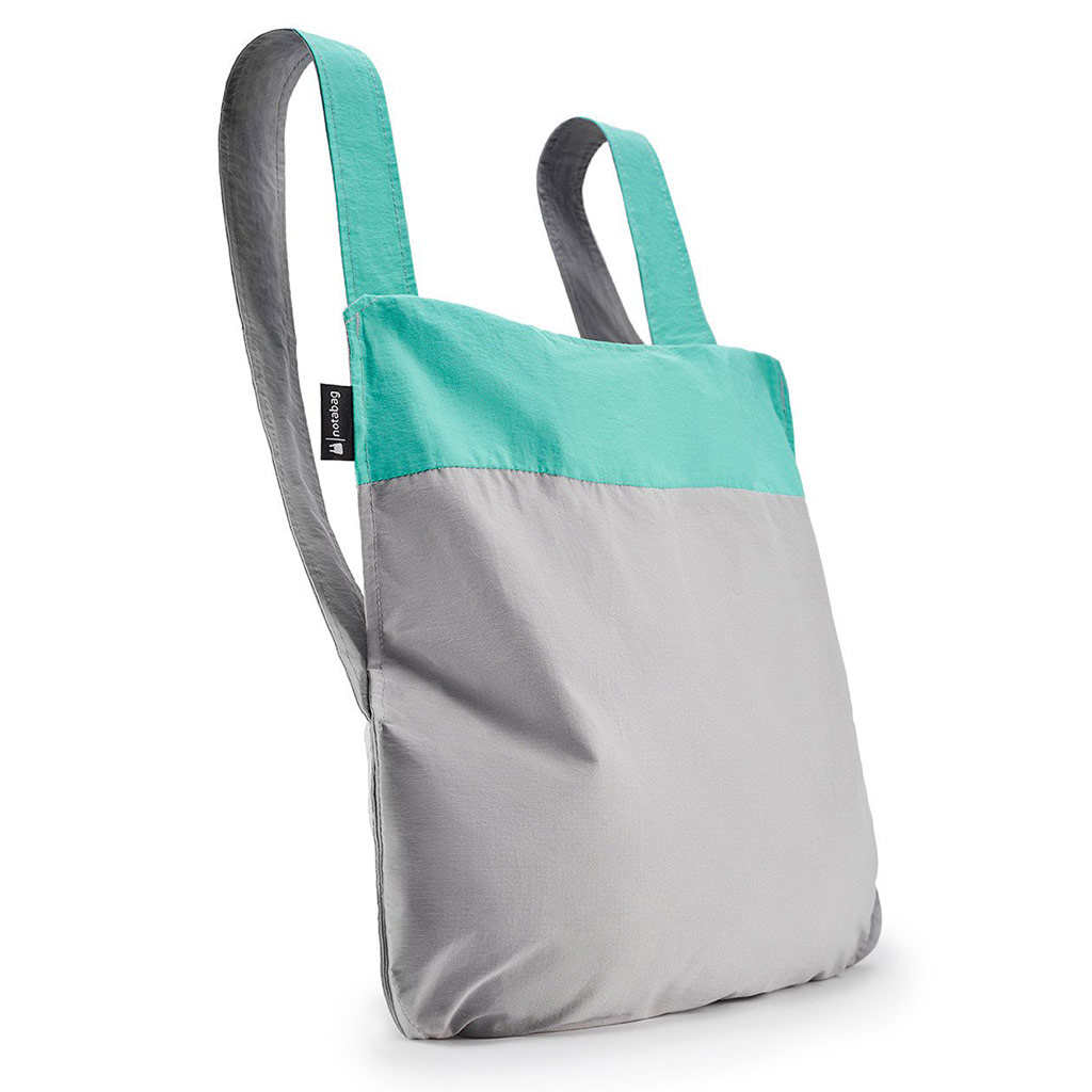 Notabag Shopping Bag & Backpack in Mint and Grey | The Design Gift Shop