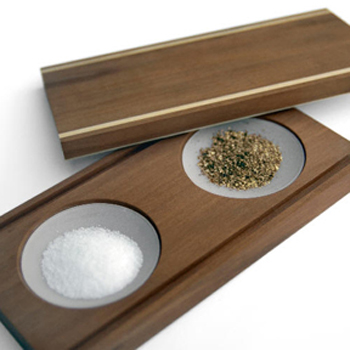 Raumgestalt Salt and Pepper Dishes - glass and walnut