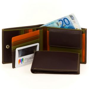 MYWALIT 136-72, men's wallet, transparent ID compartment, magnifier with BriteLite, colour SAFARI/MULTI