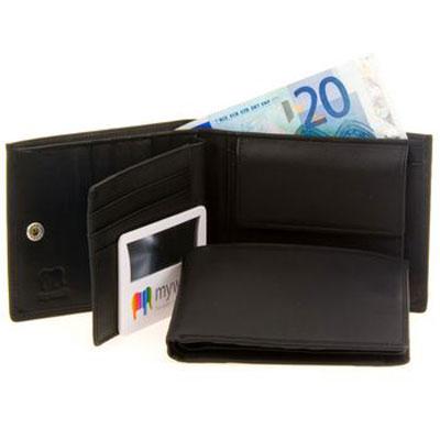 MYWALIT 136-3, men's wallet, transparent ID compartment, magnifier with BriteLite, colour BLACK