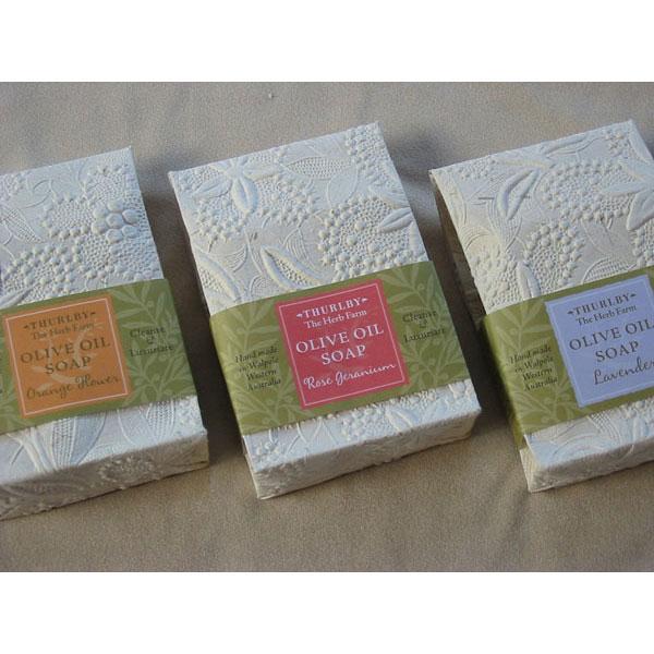 THURLBY natural olive oil soap, fragrances Lavender, Rose Geranium or Orange Blossom
