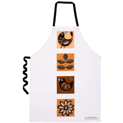 ANNABEL TRENDS apron RETRO BIRDS BROWN