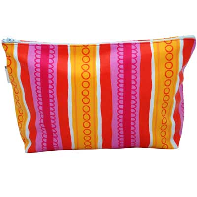 ANNABEL TRENDS -  Large Cosmetic Bag - PINK STRIPE
