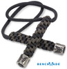 BENCHMADE 988732F CAST PEWTER BUTTERFLY LOGO BEAD. BLACK & DARK GRAY PARACORD LANYARD. CUTLERY SHOPPE