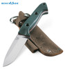 "Benchmade 162 Bushcrafter  4.40"" Plain Edge CPM-S30V Blade Green G-10 Handle - Brown Leather Sheath 162 Cutlery Shoppe"