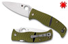 "Spyderco C217GP Caribbean Salt - 3.7"" Plain Edge Leaf Shaped Rustproof LC200N Blade - Layered Black/Green G-10 Handle - CUTLERY SHOPPE"