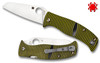 "Spyderco C217GPSF Caribbean Salt - 3.7"" Plain Edge Sheepsfoot Shaped Rustproof LC200N Blade - Layered Black/Green G-10 Handle"