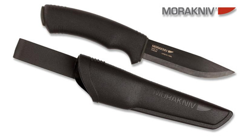 "MORAKNIV BUSHCRAFT KNIFE. MADE IN SWEDEN. MODEL M-12490. 4.3"" HIGH CARBON STEEL BLADE. BLACK POLYMER HANDLE. CUTLERY SHOPPE"