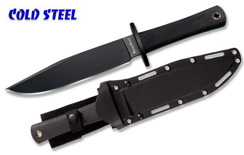 """COLD STEEL 39LRST RECON SCOUT BOWIE KNIFE. 7.5"""" O-1 TOOL STEEL CLIP POINT BLADE W/BLACK TUFF-EX BLADE FINISH. KRAY-EX HANDLE. SECURE-EX SHEATH. CUTLERY SHOPPE"""