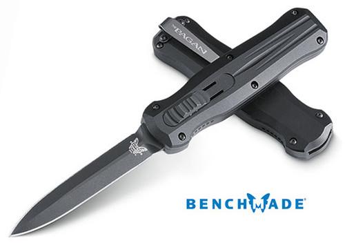 "Benchmade 3320BK Pagan OTF Automatic - 3.96"" Double Edge 154CM Black Finish Blade - CUTLERY SHOPPE"